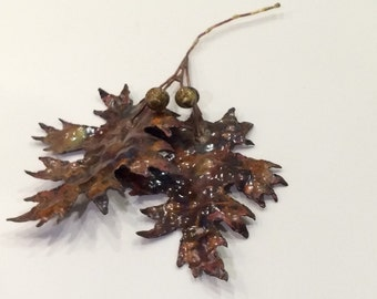 Hanging copper oak leaves with acorns