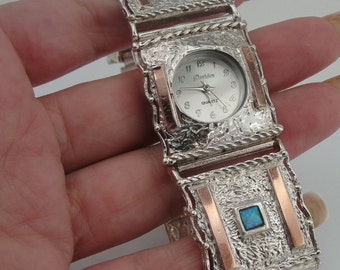 NEW Silver Gold Watch, Handmade Fine Gold Silver Opal Bracelet Watch, Opal Bracelet Watch, Blue Opal, Israel Jewelry (s w 3015)