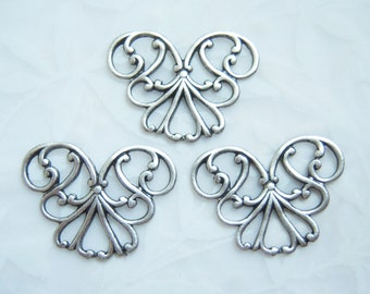 Antique silver plated Art Nouveau filigree  connector lot of (3) - FA114