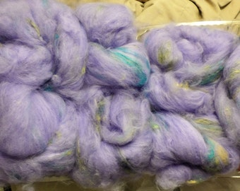 Violet Angora and Colorful Silk Spinning Fiber
