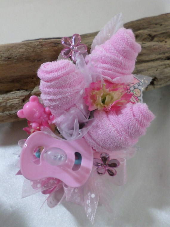 baby shower corsage baby girl corsage floral corsage pacifier