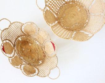 raffia wall basket set / vintage