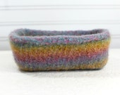Pastels Knit Felted Storage Basket, Wool Felt Basket in Pastels, Pastel Green Blue Yellow Storage Baby Gift, Felt Storage Basket for Baby