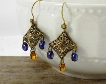 Blue Amber Boho Chandelier earrings Antique Brass gypsy earrings Dangle earrings