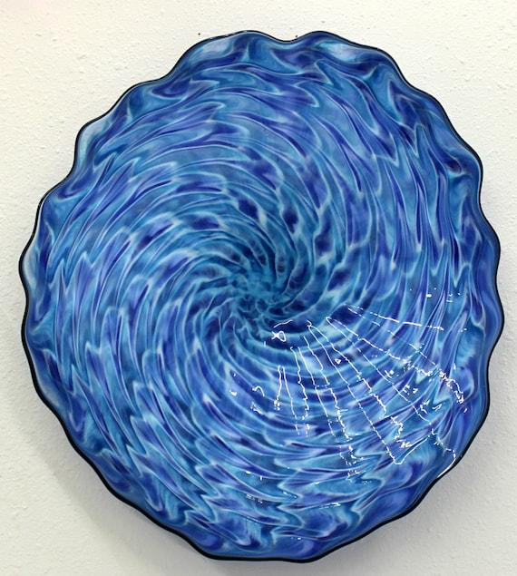 beautiful hand blown glass art wall platter bowl 6518 oneil. Black Bedroom Furniture Sets. Home Design Ideas