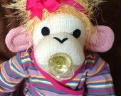 Baby Sock Monkey Shelly.  Rockford Red Heel sock monkey made by hand in the USA.