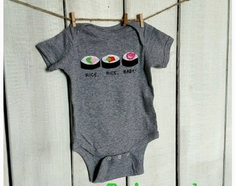 "Funny Sushi Roll ""Rice, Rice, Baby"" Baby bodysuit, sushi roll onesie, fun baby shower gift, mom-made"