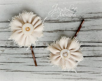 Flower Bobby Pins, Vintage Wedding Hair Pins, Small Floral bobby pins