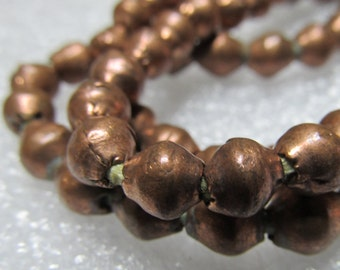 Copper Beads 8 X 6mm Golden Solid Raw Copper Bi Cone Beads - 25 Pieces