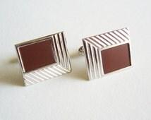 Vintage Modern Art Deco Speidel Cufflink Set - Silver Tone Metal Posts - Cufflinks