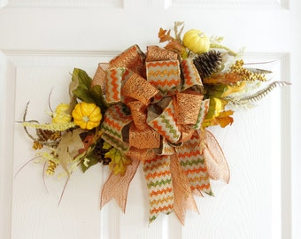 Fall Swag, Fall Wreath, Fall Decor, Autumn Swag, Autumn Decor, Orange Swag, Fall Pumpkin, Front Door Wreath, Thanksgiving Wreath