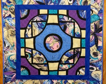 Abstract Original Design Wall Quilt in Blue, Purple, Tan and Black, Picasso-Like Fabric, Quilted Wall Hanging, Quilted Throw