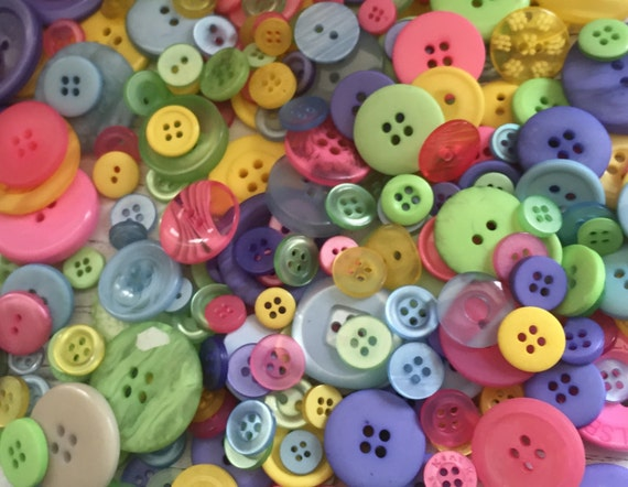 """200+ Mixed Buttons, """"Spring Blossom"""" Shades, Pink, Yellow, Green, Purple and More, Sewing, Crafting Buttons, Embellishments"""