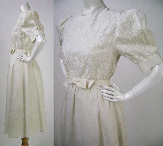 Vintage 80s wedding dress albert nipon puff sleeve for Puff sleeve wedding dress