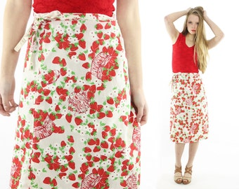 Vintage 70s Strawberry Wrap Skirt A Line Novelty Red White 1970s Small Medium M