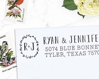Monogram Address Stamp, Custom Address Stamp, Rustic Wedding address stamp, Calligraphy Stamp, Self inking or Eco Mount stamp  - Morrison