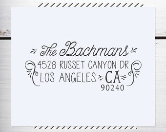 Return Address Stamp, Custom Address Stamp, Rustic Wedding address, Calligraphy Address Stamp, Self inking or Eco Mount stamp  - Bachman