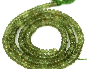 Exclusive High Quality Green Apatite Smooth Roundel /  3 to 4 mm / APAT-002