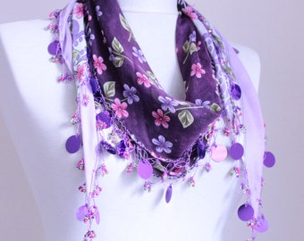 scarf ,Turkish Oya Scarf // wedding-bridal - halloween-asuhan