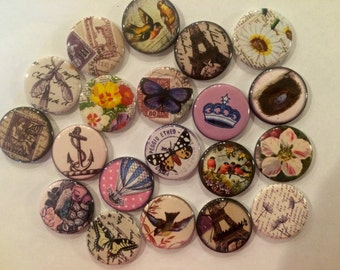set of 20 vintage France butterfly and floral 1 inch or 1.25 inch buttons pinback flatback or hollowback