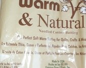 72 x 90 Warm and Natural batting 100% cotton unbleached quilt diaper