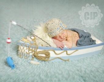 Crochet Baby Boy Fisherman Set, Custom Made To Order Handmade Newborn Photo Photography Prop Baby Shower Gift Beanie Cap