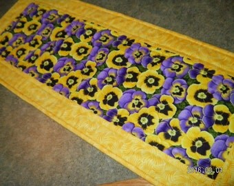 Yellow Purple Pansy Flower Floral 12  X 31  Table Runner Topper