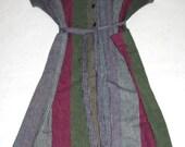 Striped 80's Cotton Shift Dress- Size M/L