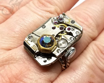 Size 9-11 Steampunk Ring, Gruen Curvex Watch Movement w/ Swarovski Starlight Rhinestone ~ Handmade Sterling Silver Adjustable Band ~ #R0095