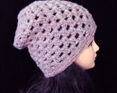 Heather Pink Hat, Chunky Crochet Hat, Slouchy Beanie Hat, Womans Accessories, Teen Hat, Pink Slouchy Hat
