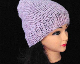 Light Pink Slouchy Beanie Hat, Pink Beanie, Wool Blend Hat