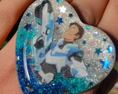 RESERVD ITEM, Lance McClain Voltron Space Babe Ring, Big Resin Statement Ring, Turquoise Ombre Resin Heart Ring, Glitter Galaxy Sci Fi Ring