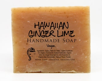 Hawaiian Ginger Lime Handmade Soap, Vegan, Organic, 100% Natural, Essential Oils