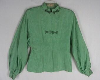 Vintage Chinese Style Top M Green Silk  Mandarin Collar Black Trim Long Sleeve