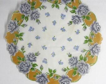 50s Round Handkerchief White Cotton Gray Rose Floral