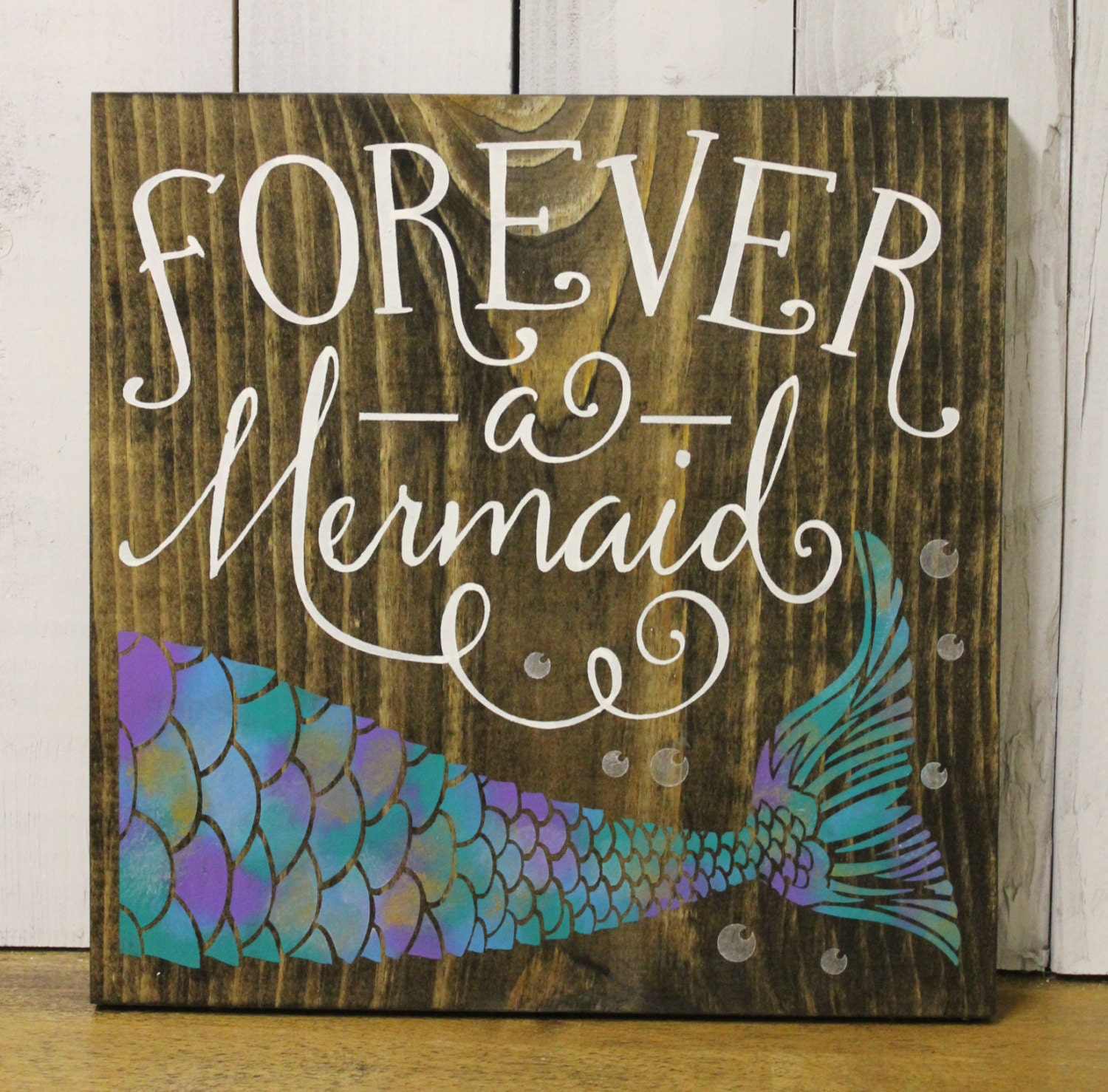 On sale forever a mermaid bathroom sign pool sign ocean sign navy blue wood sign mermaid girls