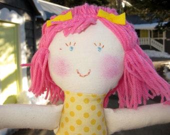 rag doll/natural cloth rag doll/pink hair doll/valentine doll
