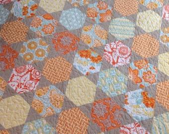 Quilt baby girl crib lap hexagon aqua orange citrine yellow-- Joel Dewberry Heirloom