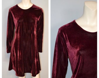 Vintage 1990's Long Sleeve Burgundy/Purple Velvet Swing/Shift Mini Dress - Size Small