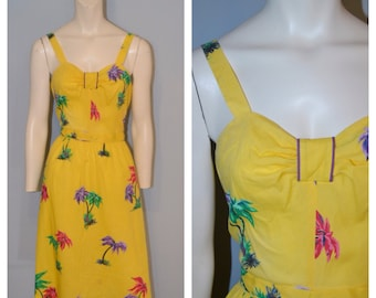 Vintage 1960's Yellow Midi Sundress/Dress with Pink, Purple and Green Palm Tree Print