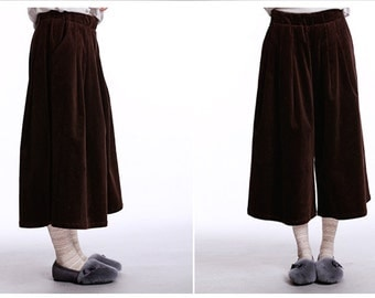 thick cotton brown pants wide-leg pants
