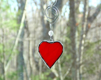 Stained glass heart suncatcher,  gift for her under 10, mini glass red heart with ornament hanger, small red heart ornament, anniversary