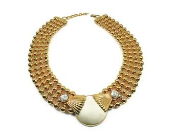 Laurana Necklace, Gold Ball Chain, Diamante Rhinestone, Ivory Enamel, Italian Designer, Statement Jewelry, Vintage Fashion, Runway Couture
