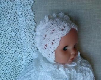Christening Bonnet, Baptism Bonnet, Crochet baby bonnet  baby hat, christening cap  Baptism hat  Newborn Crochet hat Christening accessorie