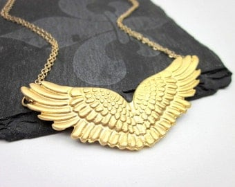 Gold Wing Jewelry -- Gold Wing Necklace -- Gold Angel Wing Necklace -- Guardian Angel Wing Pendant -- Large Wing Necklace -- Wing Necklace