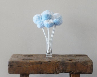 Pom Pom Flowers - Blue and White Home Decor - Baby Nursery - Shower Centerpiece - Minimalist Flowers - Simple Whimsical Baby Blue Flowers