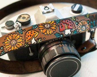 Custom Leather Camera Strap - Mushrooms and Sunflowers- Personalized Floral Leather - Handmade & Handpainted - Toadstool Woodland