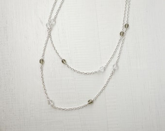 Minimal long necklace long chain necklace minimalist sparkly necklace glass beads