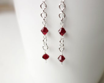 Red bead earrings long silver earrings red earrings silver long earrings silver