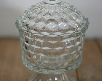 vintage fostoria glass candy dish in the classic block pattern